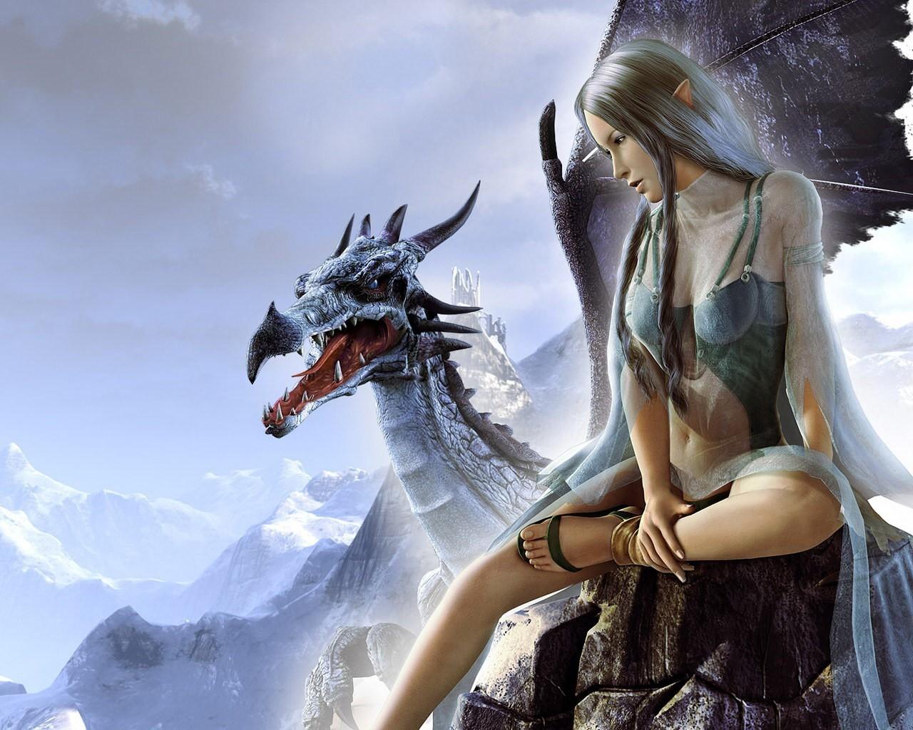 Девушка с драконом картинки фэнтези
